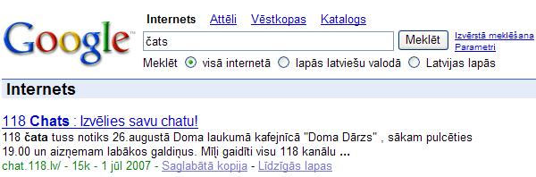 """Google.lv - """"čats"""""""