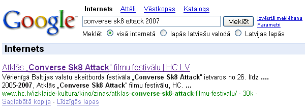 Atslēgvārds beigās Google meklēšanas rezultātos