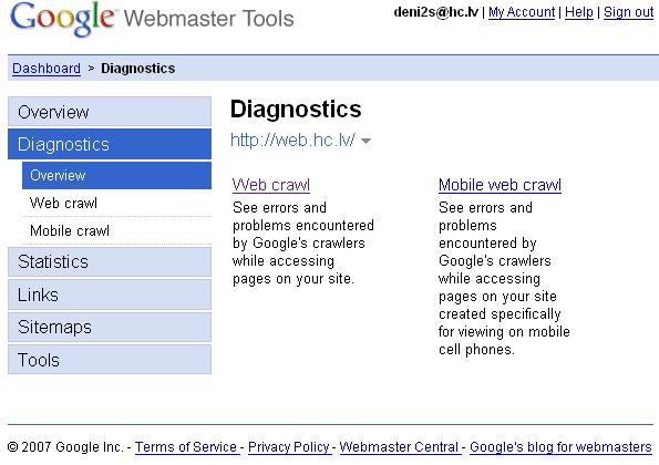 Google Webmaster Tools wizard