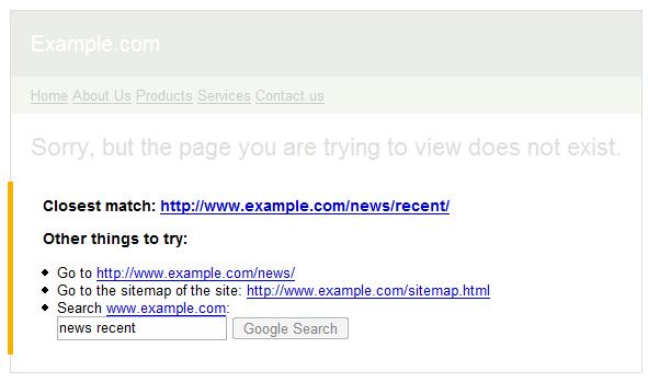 Google 404 widget