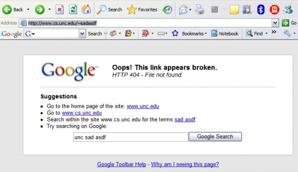 Google Toolbar 404 lapa