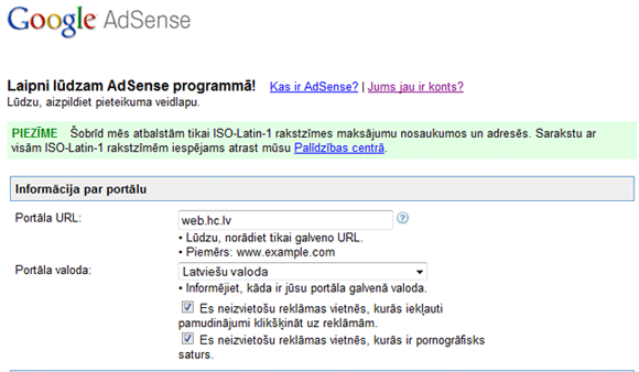Google Adsense latviski
